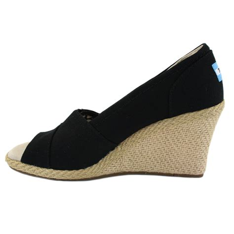 toms wedge heels womens shoes 010001b10 black ebay