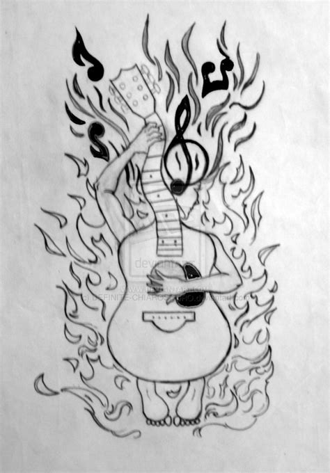 tattoo design on paper guitar tattoo design pencil and ink xerox paper by