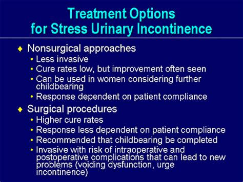 incontinence medication new horizons in stress urinary incontinence treatment