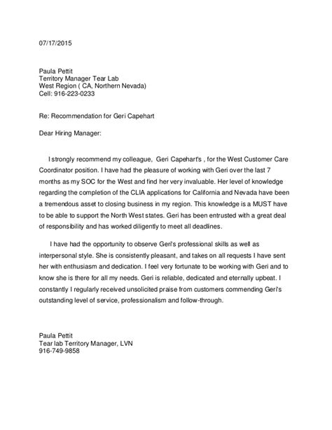 Recommendation Letter Template Sle Recommendation Letter For Geri California Territory Sales Manager