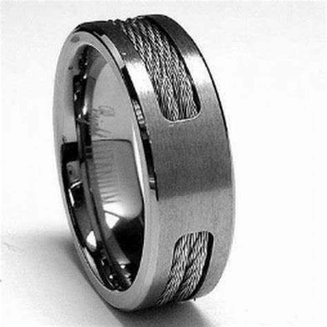 titanium mens ring wedding band stainless steel cable