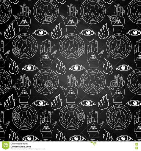 seamless eye pattern seamless pattern all seeing eye on chalkboard stock vector