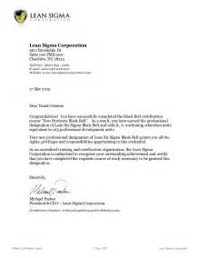 Certification Letter For Trainee Course Certificate Letter Lean Six Sigma Black Belt