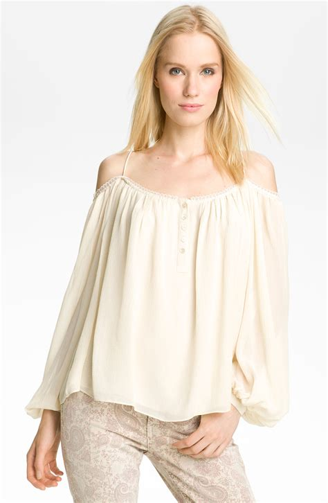 Blouse Peasant haute hippie shoulder peasant blouse in white ivory lyst