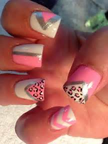 summer nails animal cheetah print triangles triangle pink