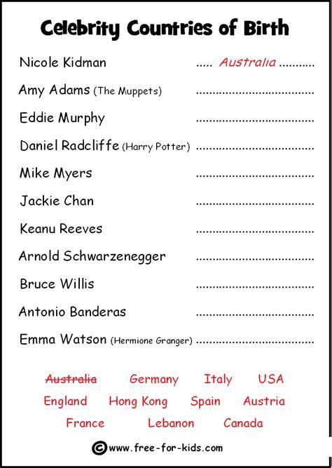 printable quiz free celebrity quiz sheets