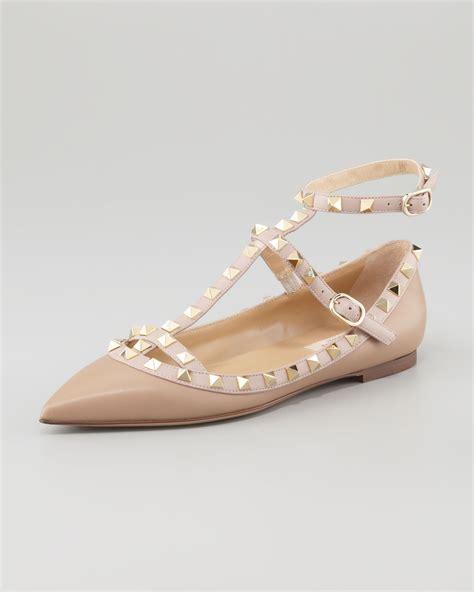 flat shoes valentino sn207 lyst valentino rockstud caged napa ballerina flat brown