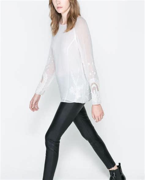 Zara Jumbo Blouse By Hana zara embroidered blouse in white ecru lyst