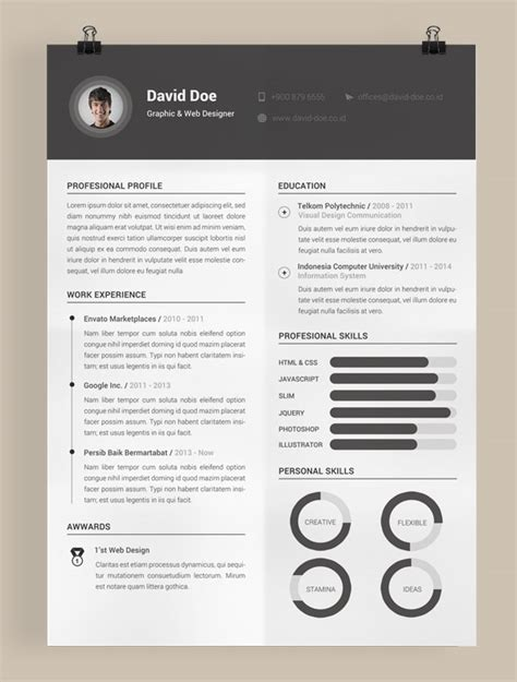 adobe resume template 50 beautiful free resume cv templates in ai indesign