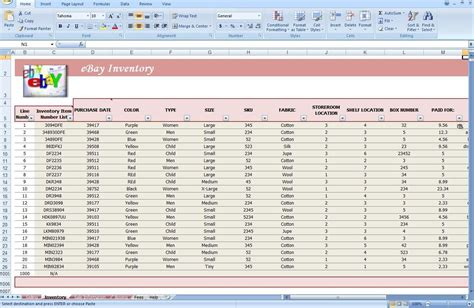 Jewelry Inventory Template by Jewelry Inventory Spreadsheet Template Ebay Store