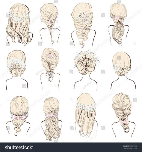 wedding hairstyles drawing set different hairstyles wedding hairstyles hair stock
