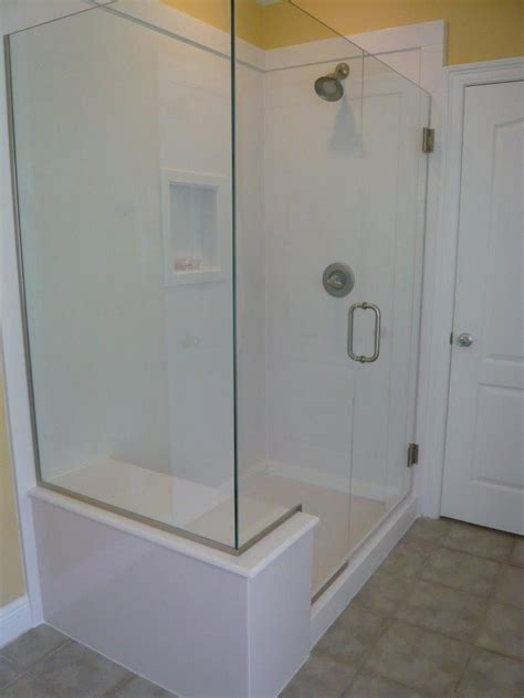 glass doors built in bench replacing bathtub with glass shower white white cultured