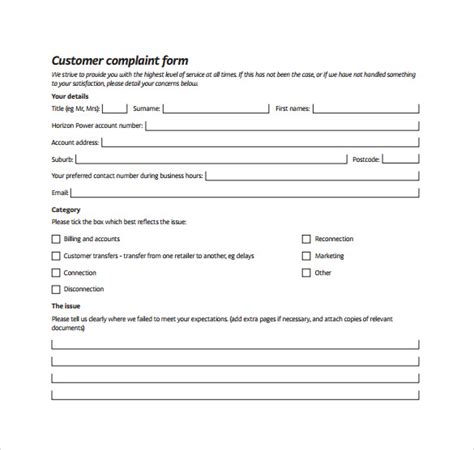 customer complaint form template 8 customer complaint form exles sle templates