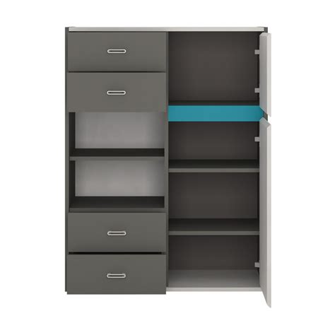 space 2 door 4 drawer storage cabinet grey and blue