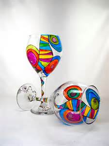 Colorful Barware Colorful Glassware Painted Wine Glasses Custom Made