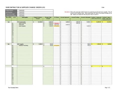 Subcontractor Supplier Change Order Log 1 Cms Subcontractor Change Order Template