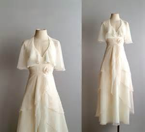 Chiffon Drape Dress 70s Wedding Dress 1970s Chiffon Bridal Gown She S The
