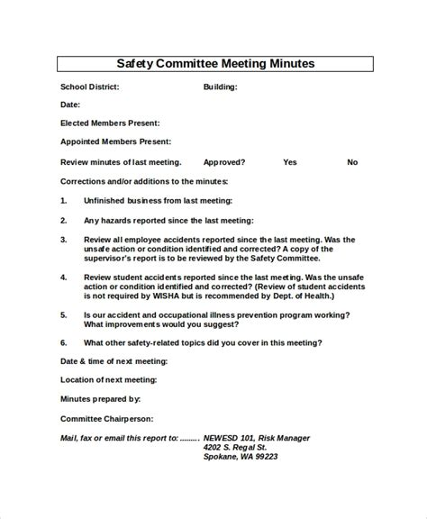health and safety committee meeting agenda template safety meeting minutes template 7 free word pdf