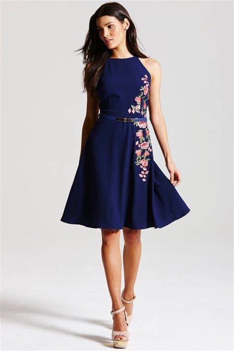 Sf 725 Flower Embroidery Flare navy floral embroidered fit and flare dress from uk