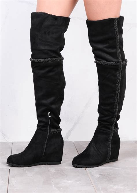 shepha wedge the knee foldable boots suede black