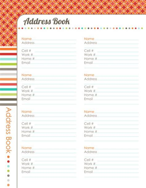 templates for address books 31 days to a clutter free life address book day 29