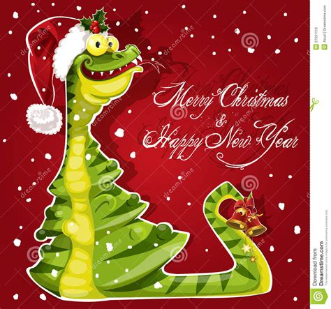 new year snake ate a christmas tree banner on red stock