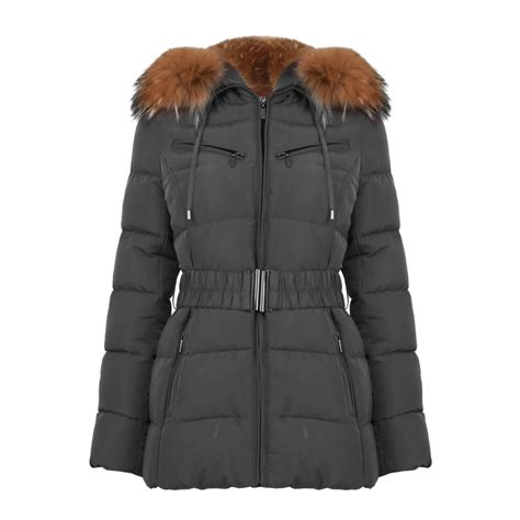 Padded Coat padded coat with racoon fur in grey