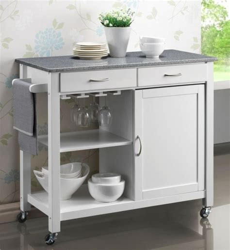 White Kitchen Cart Island Hardwood White Painted Kitchen Trolleys Half Price Sale