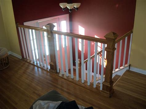 oak banisters and handrails oak stair railing from complete home remodeling and repair