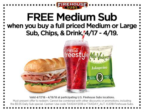 printable restaurant coupons wichita ks firehouse subs tax day freebie