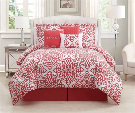 7 king coral white comforter set ebay