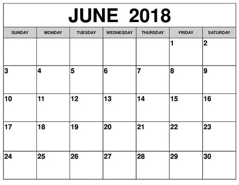 June Calendar Printable 2018 Editable Doc Free Download Edit Calendar Template 2018
