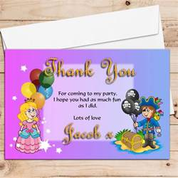 personalised birthday thank you cards 10 personalised pirate and princess birthday thank