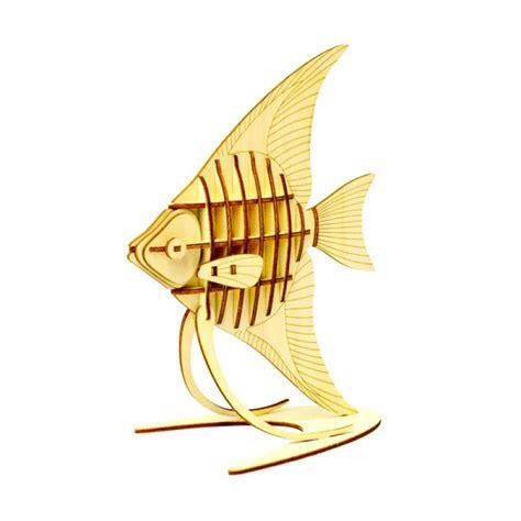 Puzzle Kayu Abjad Bentuk Ikan jual kigumi 3d puzzle kayu ikan hias angelfish model kit