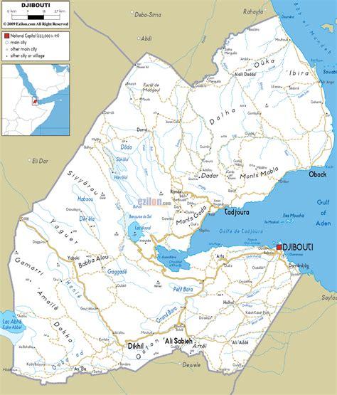 middle east map djibouti detailed clear large road map of djibouti ezilon maps