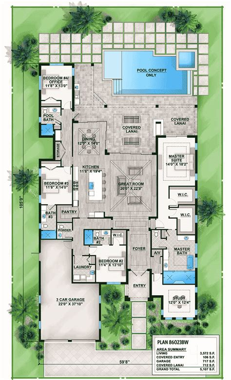 florida house plan with indoor outdoor living 86023bw
