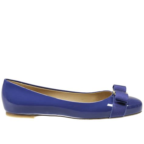 flat blue shoes ferragamo flat shoes in blue royal blue lyst