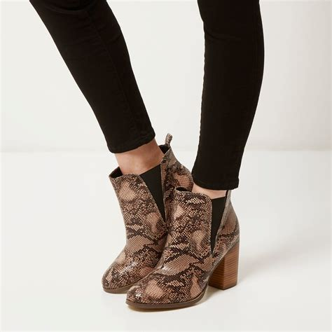 river island beige snake print ankle boots in lyst
