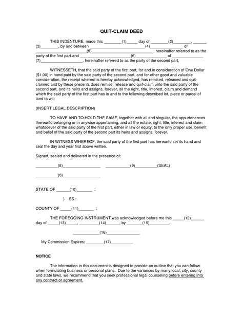 printable quit claim deed form best photos of printable blank quick claim deed free