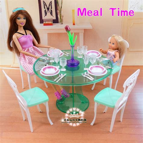 2014 new doll furniture accessories for barbie sofa new kitchen table set for barbie furniture dress up doll
