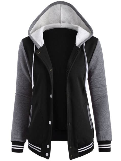 Black Hoodie Jacket varsity baseball fleece hoodie jacket black jackets