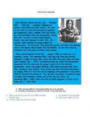 john lennon biography worksheet biographies john lennon reading song