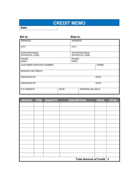Credit Note Format Excel Sheet Credit Memo Template Sle Form Biztree