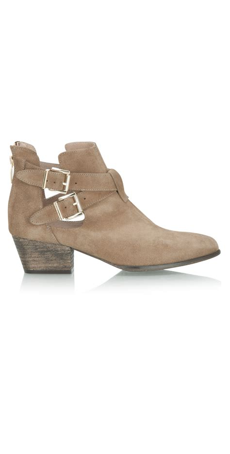 U Boat Ifo Brown Gold kmb suede ankle boot with buckle detail in vision