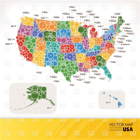 stylized map  usa  infographics style vector image