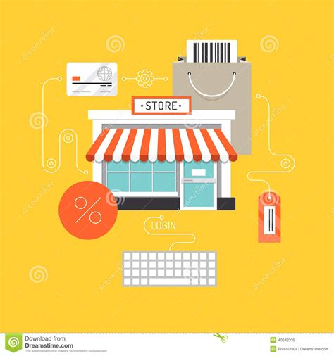 Design Online Market | online shopping flat illustration concept stock vector