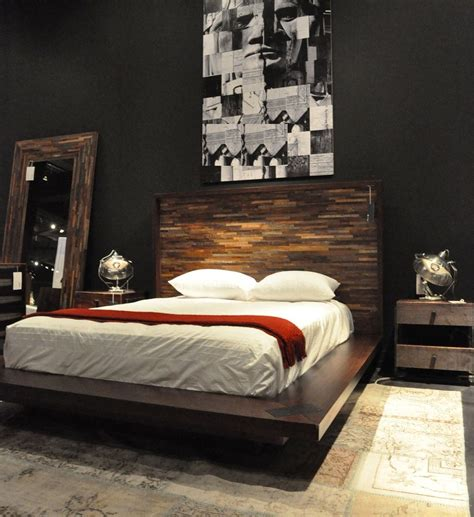 reclaimed wood platform bed bedroom contemporary with beam