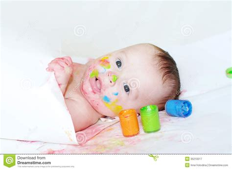 baby 4 months royalty free baby age of 4 months with paper and finger type paints royalty free stock photography image