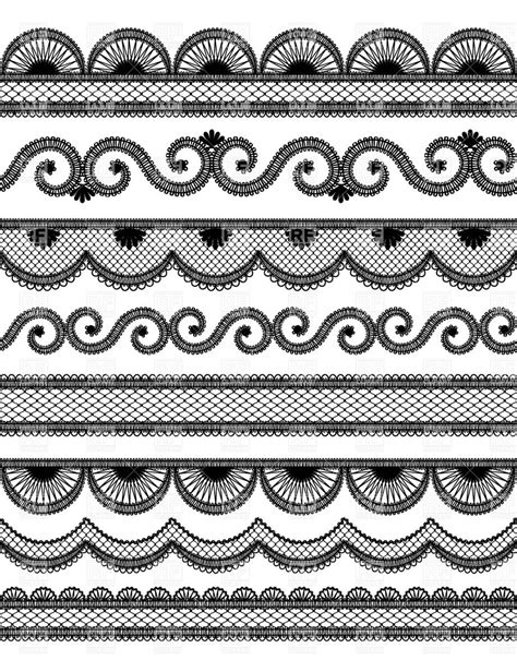 eps format borders set of horyzontal black wavy lace borders royalty free