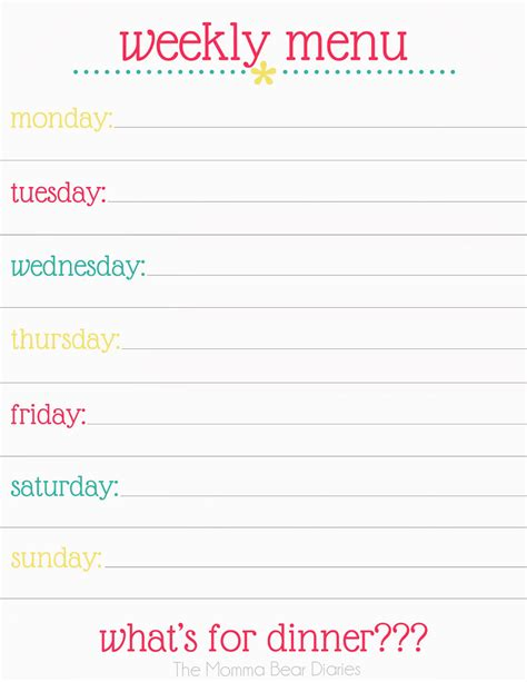 weekly menu planner printable free search results for printable menu planner for dinner